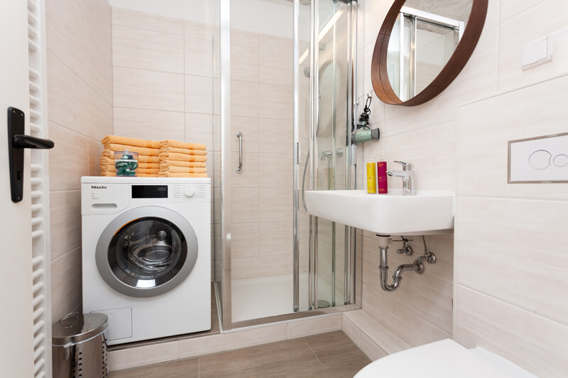 Badezimmer (Dusche/WC) mit Waschmaschine und Fön. / Bathroom (shower/WC) and hairdryer.