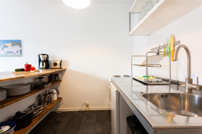 Voll ausgestattete Küche mit Kühlschrank, Mikrowelle, Herd und Ofen. / Fully equipped kitchen with refrigerator, microwave, stove and oven.